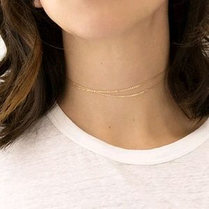 gold double strand multi layer choker chain
